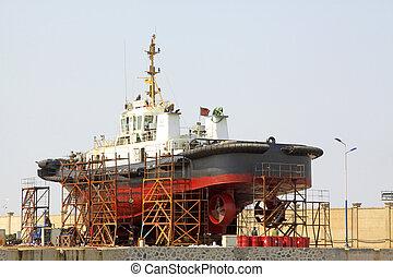 barco, era, debajo, reparación, en, el, muelle