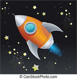 barco, espacio, cómico, cohete, caricatura