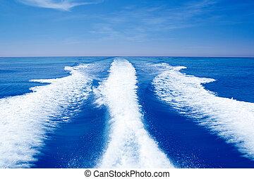 barco, estela, apoyo, lavado, en, océano azul, mar