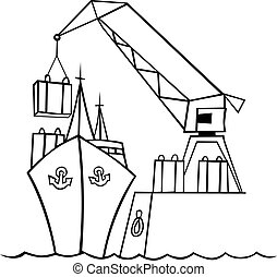 barco, grúa