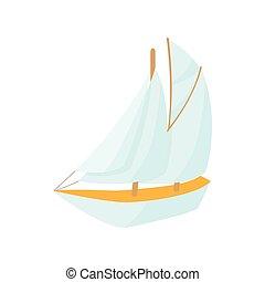 barco, icono, caricatura, estilo