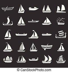 barco, icono, conjunto, gris, vector