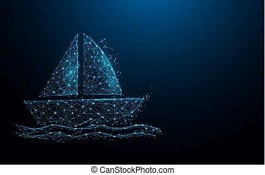 barco, icono, forma, líneas, triángulos, y, partícula, estilo, design., ilustración, vector