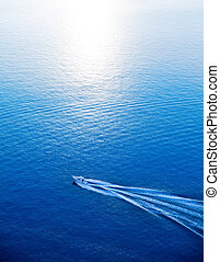 barco, ir, azul, mar mediterráneo, vista aérea