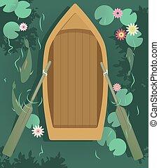 barco, lago