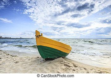 barco madeira, ligado, a, báltico, shore.