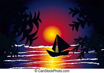 barco, mar, ocaso