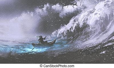 barco, mar, tempestuoso, hombre