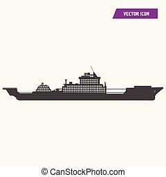 barco militar, buque de guerra, icon.