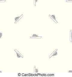 barco militar, vector, seamless, patrón