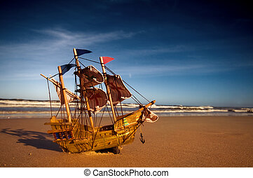 barco, modelo, en, verano, soleado, playa