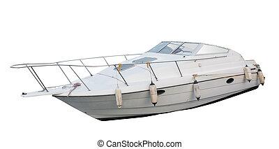 barco motriz, aislado, en, el, blanco