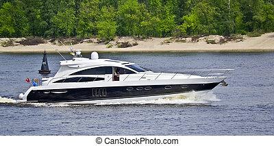 barco motriz, en, el, lago