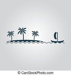 barco, navegación, cerca, el, isla, con, árboles de palma