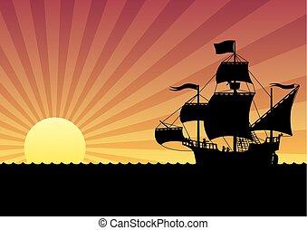 barco, ocaso, navegación