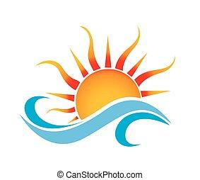 barco, ondas, y, sol, logotipo