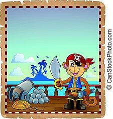 barco, pergamino, mono, pirata