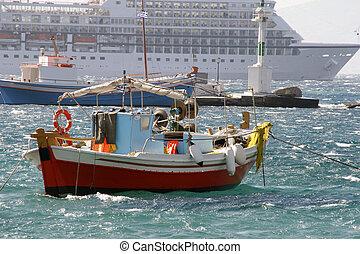 barco pesca, fundo, de, a, forro oceano