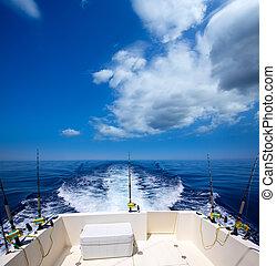 barco pesca, popa, convés, com, trolling, barras pescaria,...
