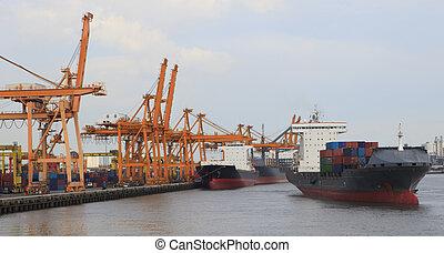 barco, petrolero, puerto