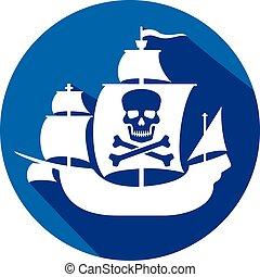 barco, pirata, cráneo