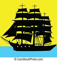 barco, piratas, ilustración