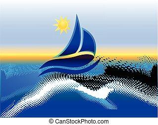 barco, playa, y, plano de fondo de sol