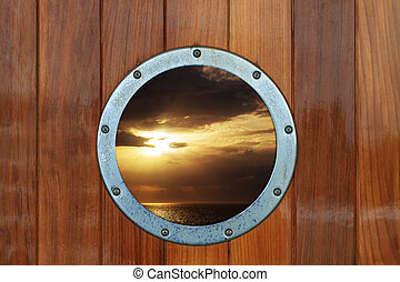 barco, portilla, con, vista oceánica
