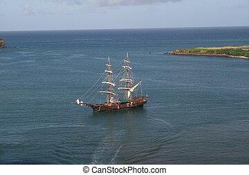 barco, réplica, caribe, pirata