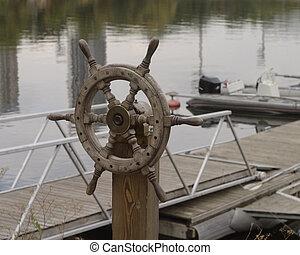 barco, rueda, en, el, muelle