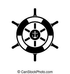 barco, rueda, icono