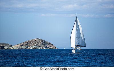 barco, sails., blanco, yates, navegación