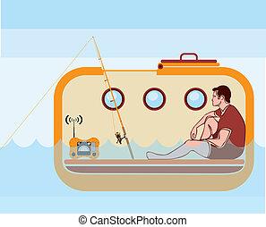 barco salva-vidas, vetorial