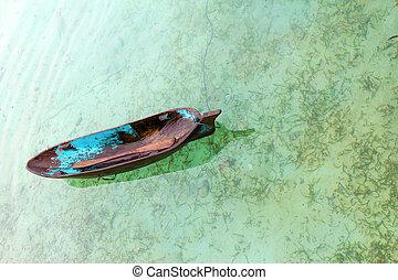 barco, (sampan), en, el, río, en, isla de mabul