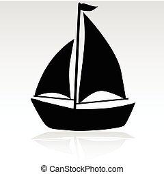 barco, simple, ilustración