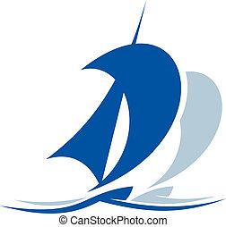barco, sobre, navegación, ondas