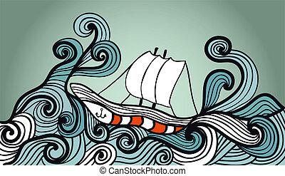barco, tormenta, navegación, océano