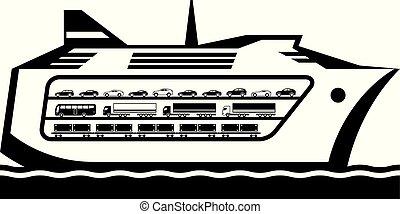 barco, transbordador, mar, transportes, a través de, ...