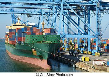 barco, transporte, cargamaento, contenedores, grúas, grande