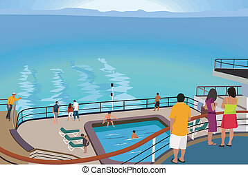 barco, turistas, crucero