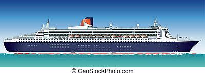 barco, vector, hi-detailed, crucero