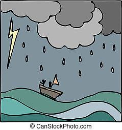 barco, vector, mar, tormenta