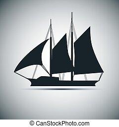 barco, vector, silueta