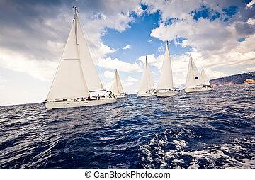 barco, velas, yates, navegación, blanco