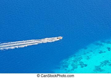 barco velocidade, de, vista aérea, maldives