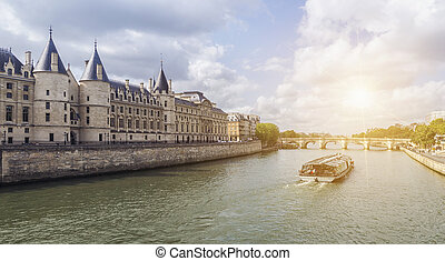 barco, viaje, en, río de la jábega, en, parís, en, summer., parís, francia