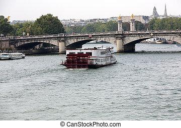 barco, viaje, en, río de la jábega, en, parís, francia