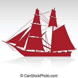 barco, viejo, uno
