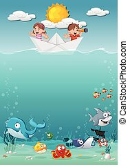 barco, water., papel, debajo, dentro, pez, niños, océano
