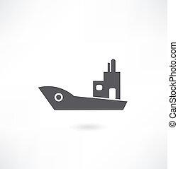 barco, y, barco, icono, conjunto